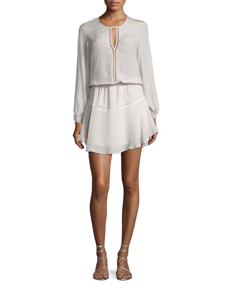 Karina Grimaldi Titti Long Sleeve Keyhole Mini Dress,