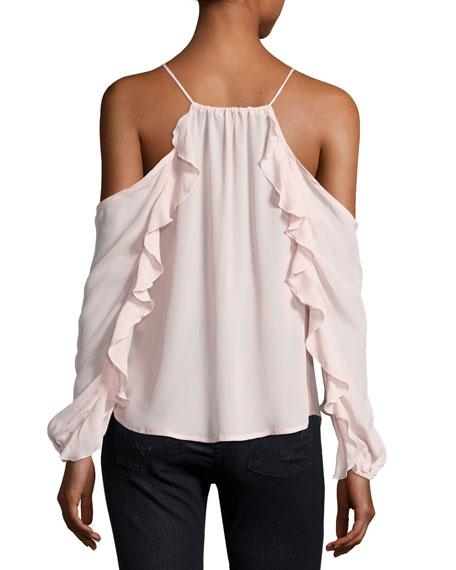 Rosi Ruffle-Trim Cold-Shoulder Top, Pink