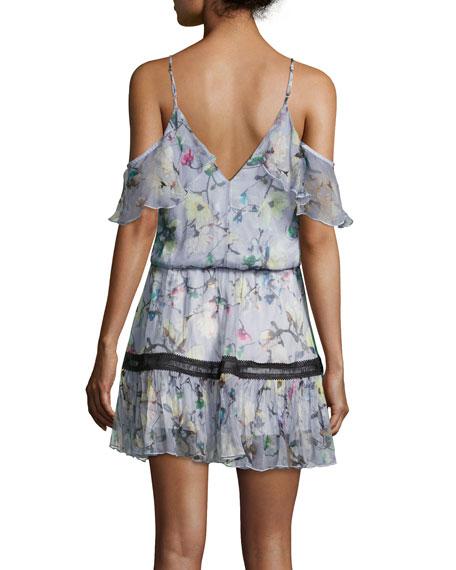 Aiden Floral-Print Cold-Shoulder Dress, Multi Pattern