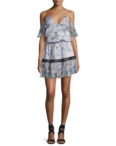 Karina Grimaldi Aiden Floral-Print Cold-Shoulder Dress, Multi