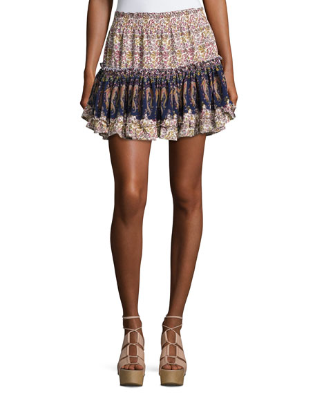 Marion Tiered Mini Skirt, Multi Pattern