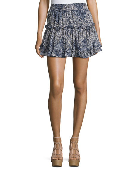 Marion Tiered Mini Skirt, Blue