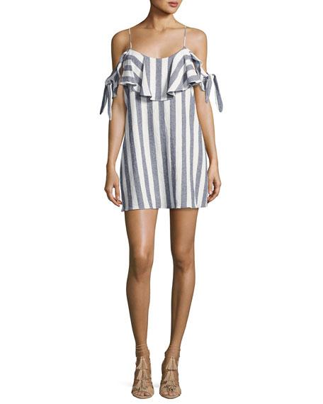 MISA Los Angeles Nicolette Cold-Shoulder Striped-Print Dress,