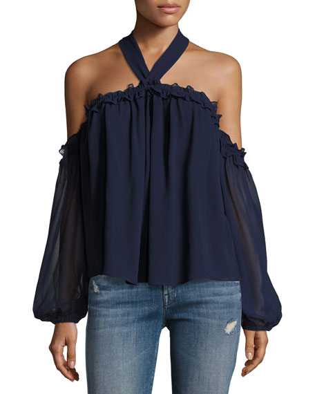 Livey Cold-Shoulder Halter Blouse, Navy
