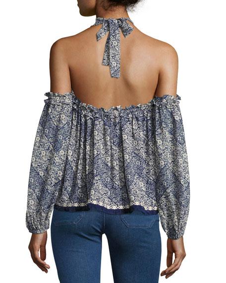 Livey Cold-Shoulder Printed Halter Blouse, Blue Pattern
