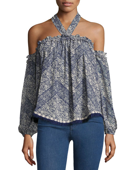 MISA Los Angeles Livey Cold-Shoulder Printed Halter Blouse,