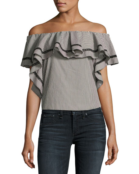 Molly Off-The-Shoulder Striped Ruffle Top, Black/White