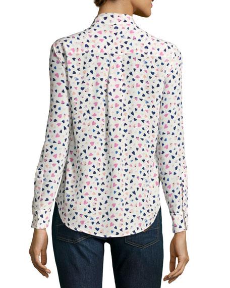 2fb552ae797984 Rails Kate Heart-Print Silk Blouse, Multi Pattern | Neiman Marcus