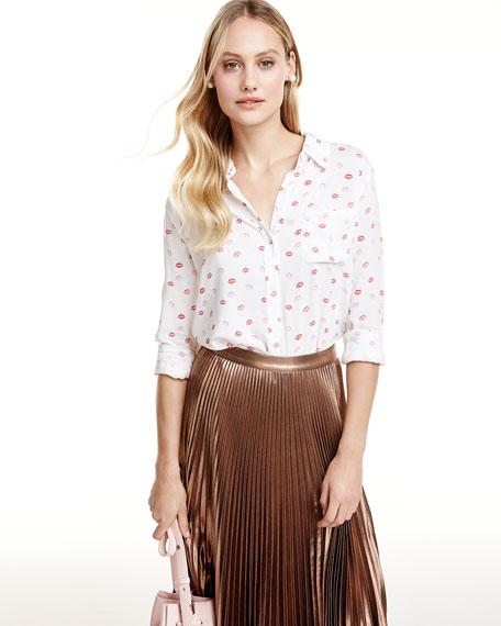 Rosci Kiss Me Button-Down Shirt, Pink/White