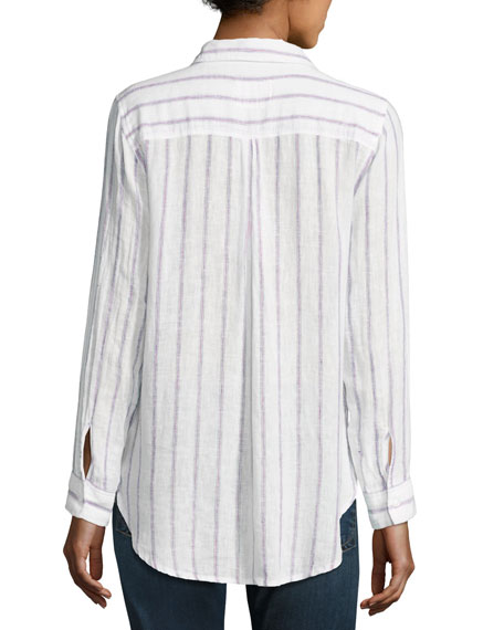 Charli Striped Long-Sleeve Shirt, White/Lilac