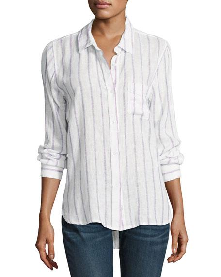 Rails Charli Striped Long-Sleeve Shirt, White/Lilac