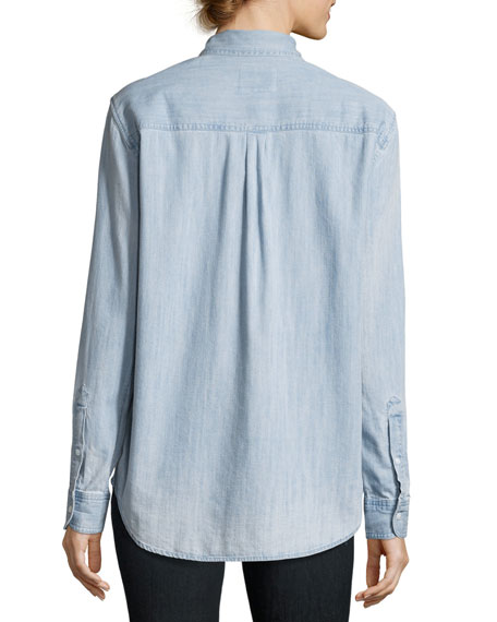 Brett Embroidered Chambray Shirt, Blue