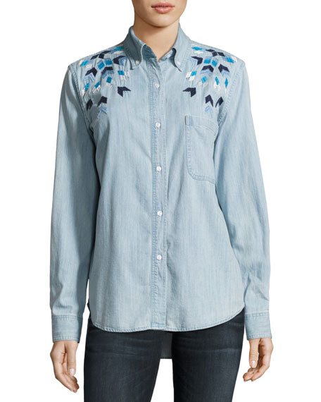 Rails Brett Embroidered Chambray Shirt, Blue