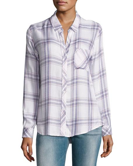Hunter Plaid Shirt, White/Lilac Pattern
