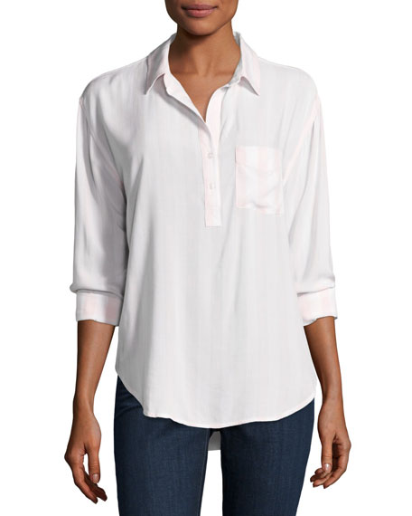 Rails Elle Patch-Pocket Shirt, Peony White