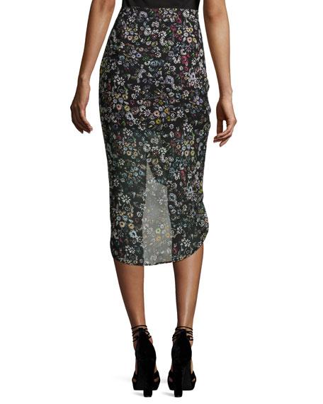 Romy Ruched-Side Floral Midi Skirt, Black/Multicolor