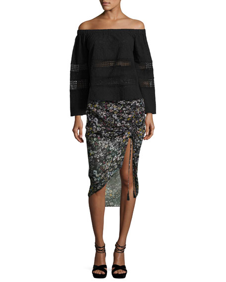 Romy Ruched-Side Floral Midi Skirt, Black/Multicolor