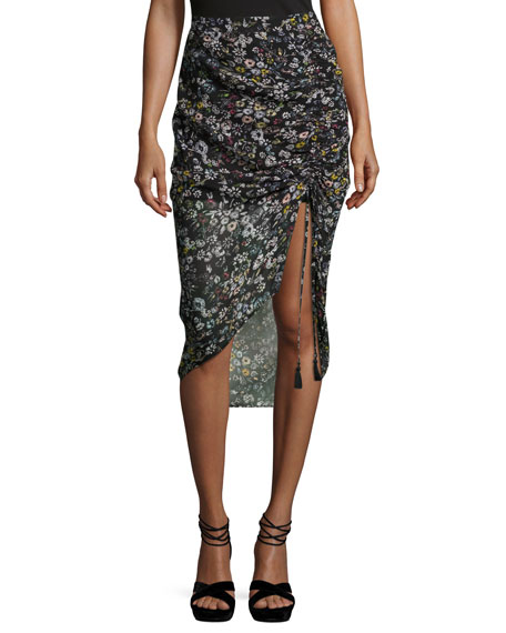Rebecca Minkoff Romy Ruched-Side Floral Midi Skirt,