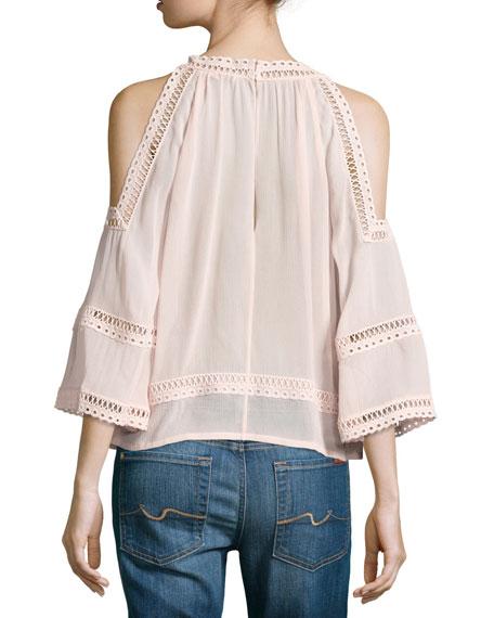 Deneuve Cold-Shoulder V-Neck Top, Pink