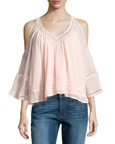 Rebecca Minkoff Deneuve Cold-Shoulder V-Neck Top, Pink