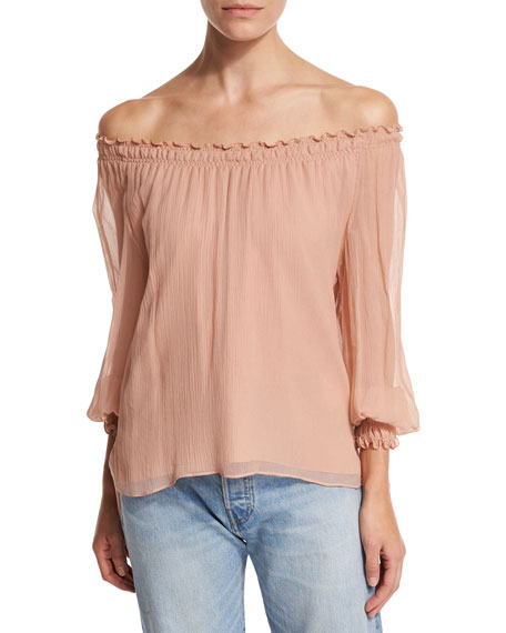 Michela Off-the-Shoulder Textured Silk Georgette Blouse, Blush