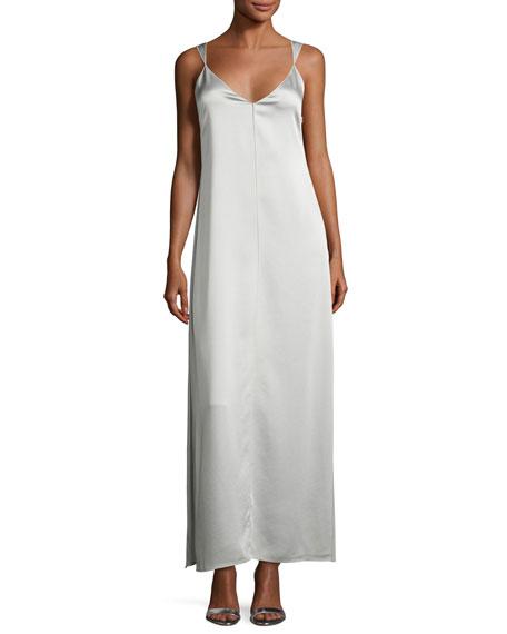 Pearl Sleeveless Satin Slip Gown, Light Gray