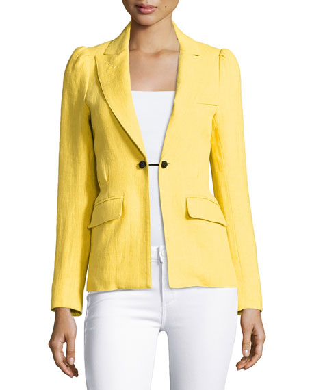Smythe Mildred One-Button Blazer, Yellow