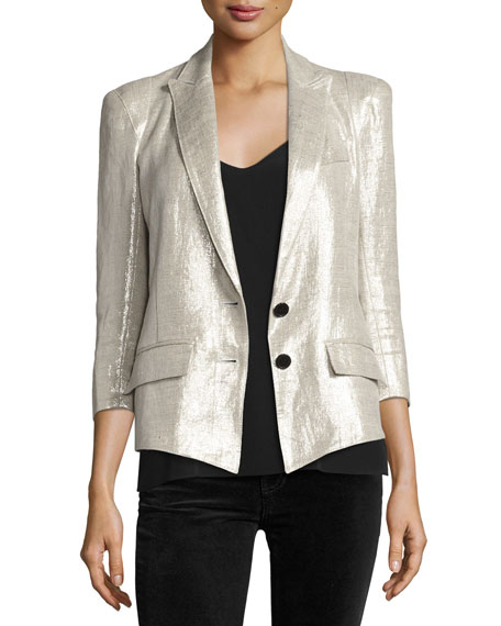 Smythe Pagoda Metallic One-Button Blazer, Metallic Linen