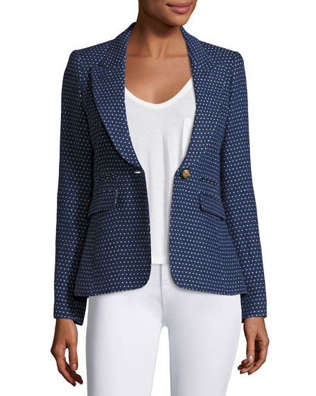 Smythe Peaked Lapel One-Button Blazer, Blue