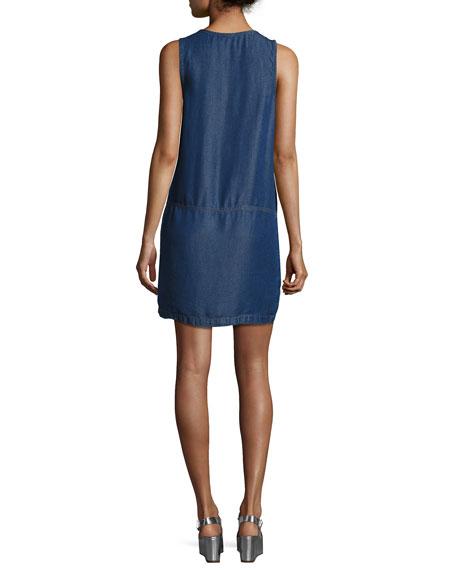 Lace-Up Sleeveless Chambray Dress, Dark Blue