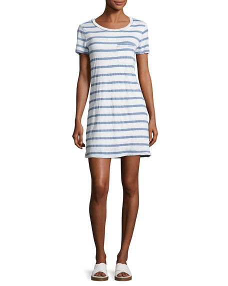 Splendid Cliffbrook Striped Pocket T-Shirt Dress, Chambray (Blue)
