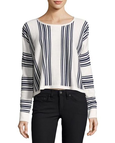 Splendid Bayside Stripe High-Low Pullover, Academy Navy/Natural