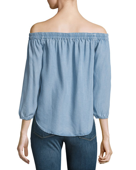 Off-the-Shoulder Chambray Top, Light Blue