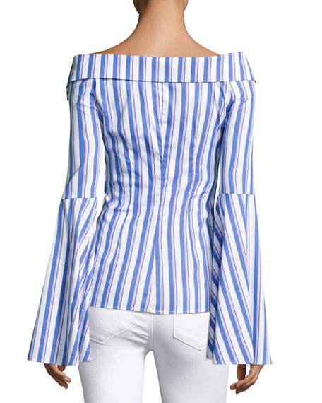 Persephone Striped Decollete Shirt, Blue