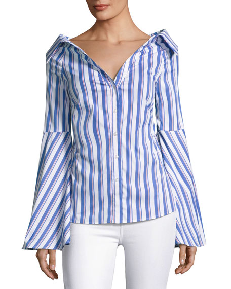 Caroline Constas Persephone Striped D??collet?? Shirt, Blue