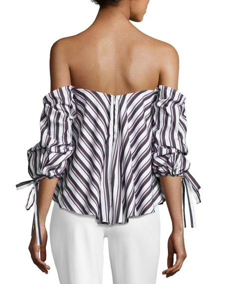 Gabriella Off-the-Shoulder Striped Top, Black/White