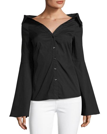 Caroline Constas Persephone Décolleté Shirt, Black