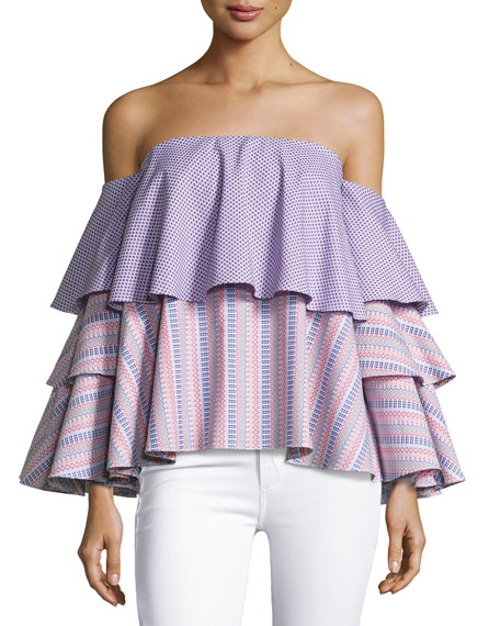 Caroline Constas Carmen Off-The-Shoulder Printed Blouse