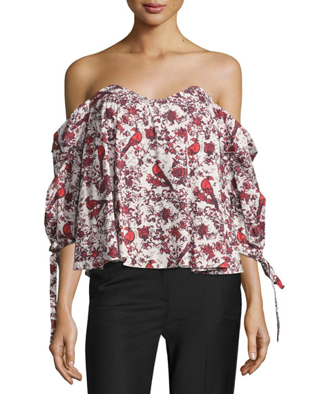 Caroline Constas Gabriella Off-the-Shoulder Bird & Floral Bustier
