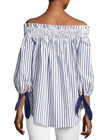 Lou Off-the-Shoulder Stripe Cotton Top, Blue/White