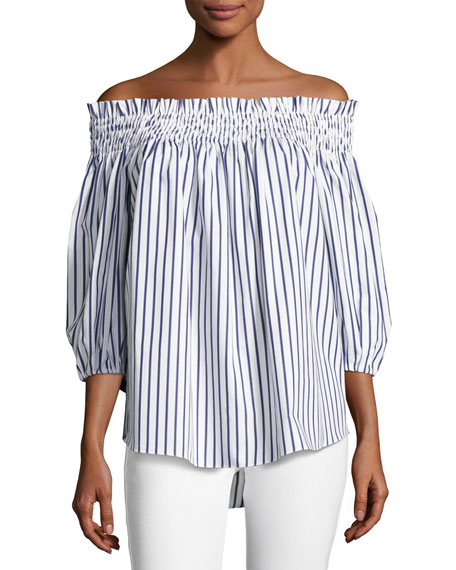 Caroline Constas Lou Off-the-Shoulder Stripe Cotton Top,