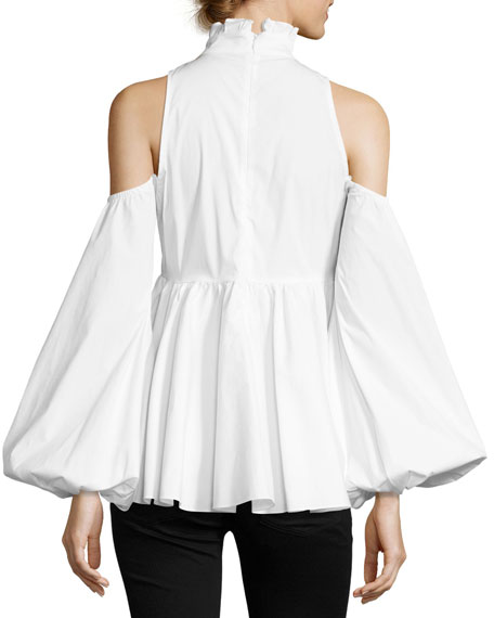 Cold-Shoulder Ruffle Top, White