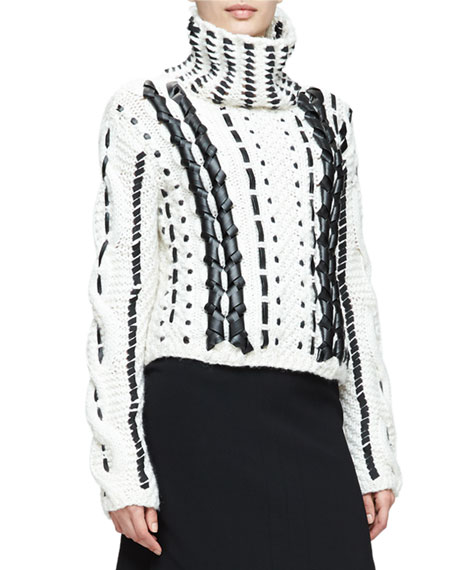 Altuzarra Caravan Leather-&-Lace Stitched Sweater, Cream