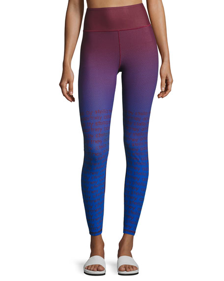 Training Miracle Sculpt Ombré Performance Leggings, Blue/Red