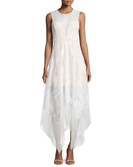 BCBGMAXAZRIA Andi Lace Handkerchief-Hem Dress, White