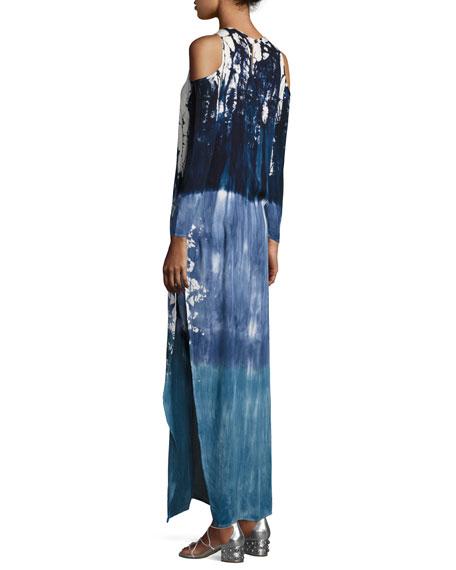 Mischa Tie-Dye Cold-Shoulder Maxi Dress, Blue