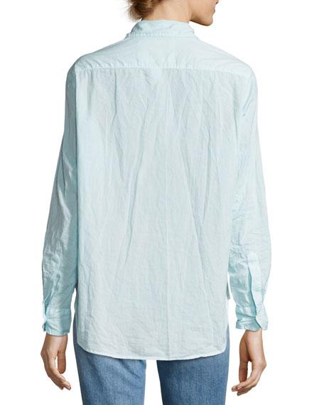 Eileen Long-Sleeve Button-Front Shirt, Aqua