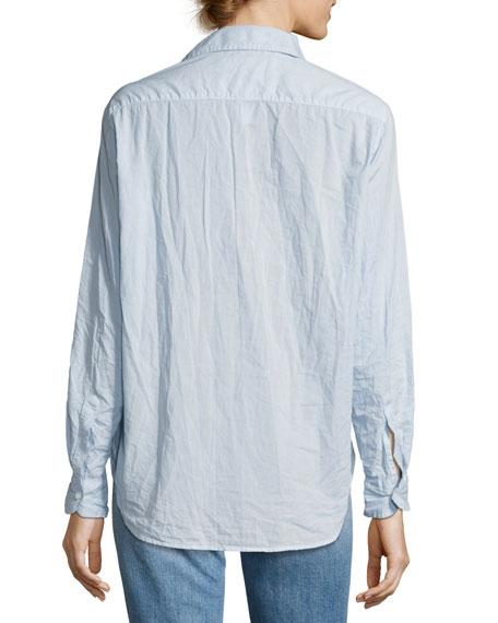 Eileen Long-Sleeve Button-Front Shirt, Light Blue