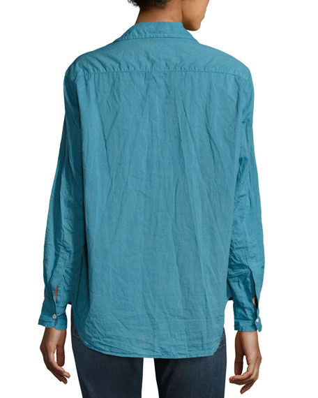 Eileen Long-Sleeve Button-Front Shirt, Blue