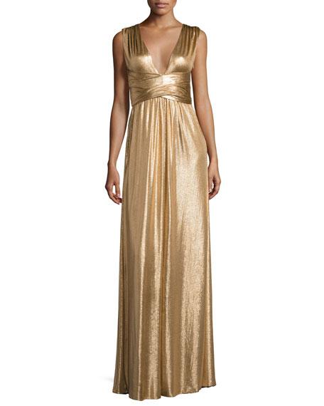 Halston Heritage Sleeveless Wrap Metallic Jersey Gown, Copper